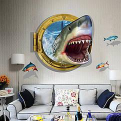 Интерьерная наклейка 3D Акула в иллюминаторе  (60х90см)