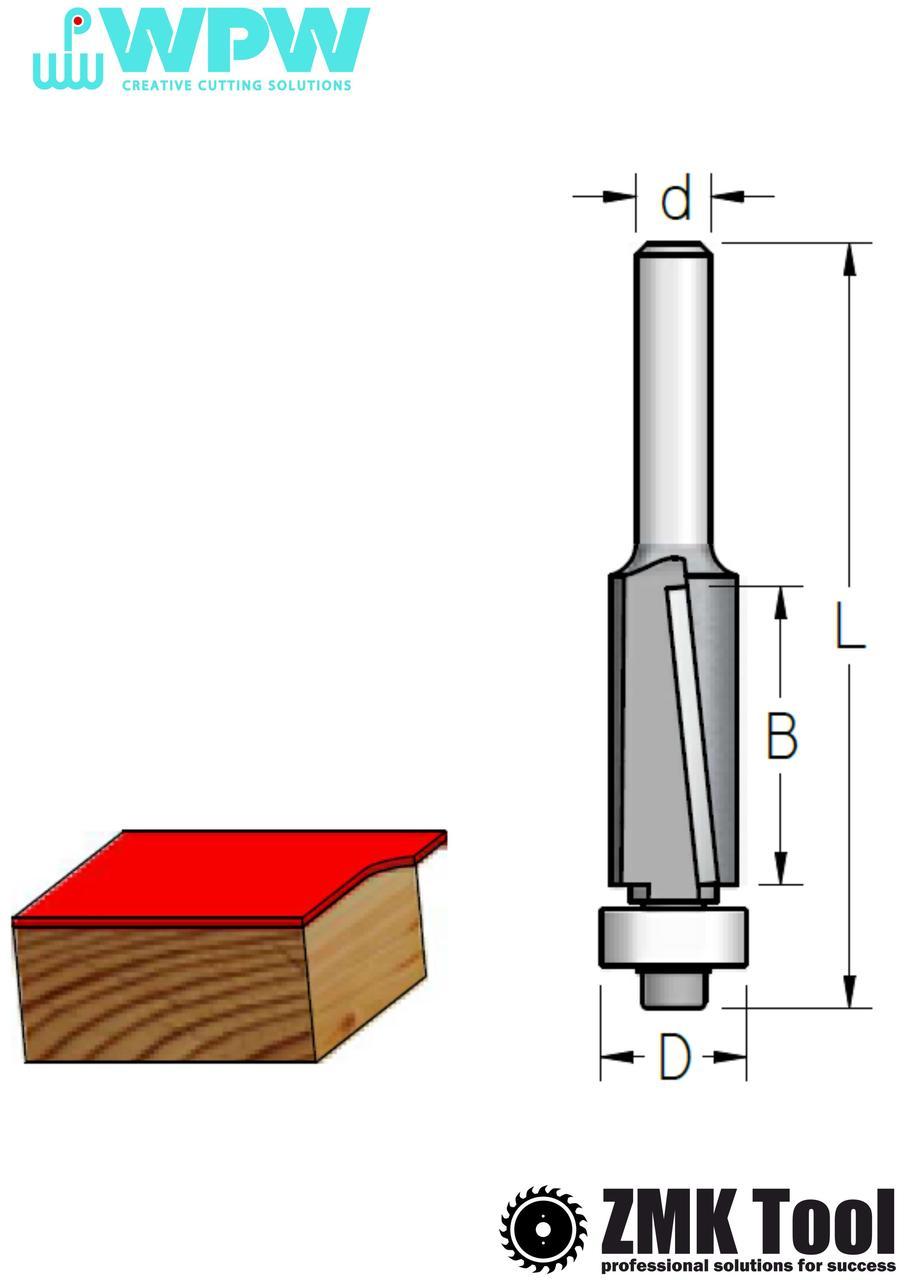 Прямая обкаточная фреза WPW с нижним подшипником и аксиальным ножом D=16 d=6 L=55 B=16 Z2 стружка вниз