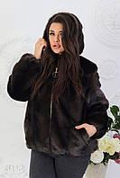 Стильный черный женский полушубок больших размеров из искуственной норки с капюшоном р.48-56. Арт-1307/37, фото 1