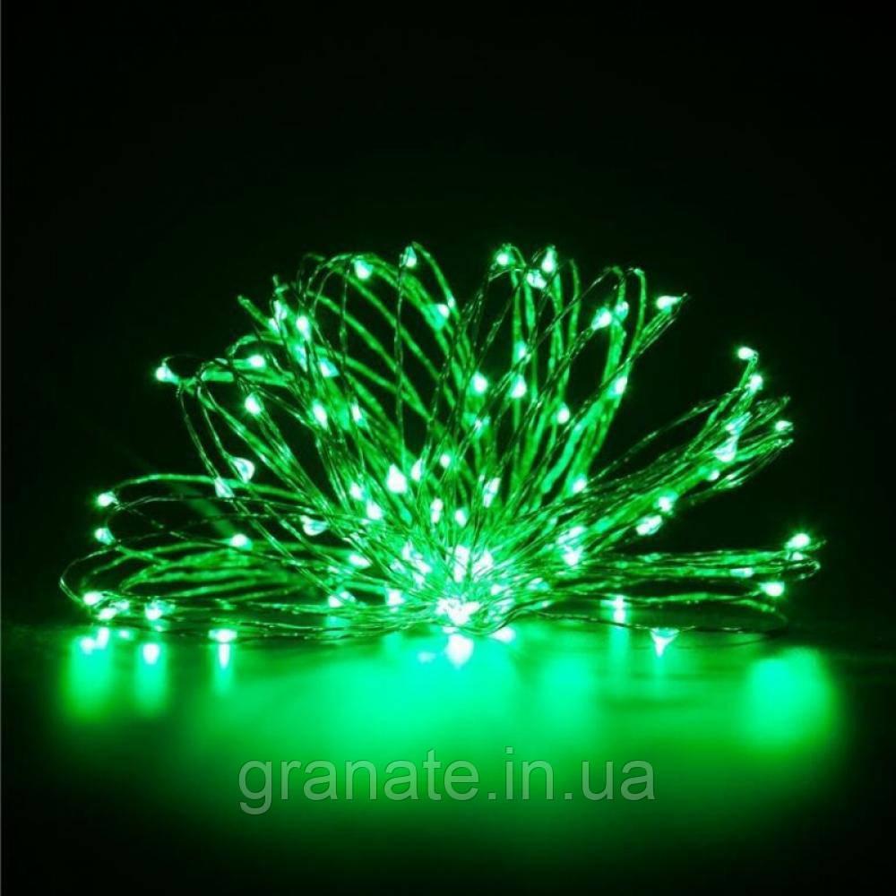Новогодняя гирлянда Капля росы 10 м, гирлянда проволочная, цвет: зелёный