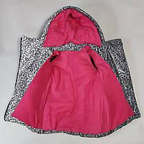 Детская теплая зимняя куртка теплая для девочки рефлективная светоотражающая на зиму серая 7-8 лет, фото 3