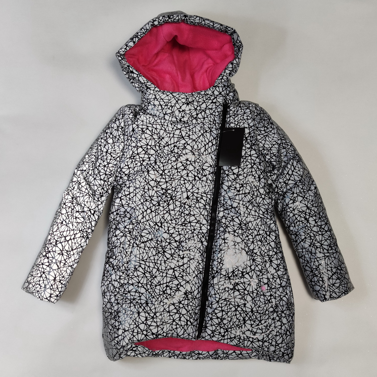 Детская теплая зимняя куртка теплая для девочки рефлективная светоотражающая на зиму серая 7-8 лет