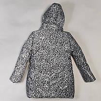 Детская теплая зимняя куртка теплая для девочки рефлективная светоотражающая на зиму серая 7-8 лет, фото 2