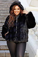 Стильный черный женский полушубок больших размеров из искуственной норки с капюшоном р.48-56. Арт-1311/37, фото 1