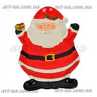 """Сервировочное новогоднее блюдо """"Санта с подарком"""" красное, фигурное, новогоднее блюдо, сервировочное блюдо"""