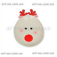 """Фигурная новогоднее блюдо для вторых блюд """"Олень"""" 22см, белый, блюдо, блюда, тарелка новогодняя"""