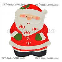 """Сервировочное новогоднее блюдо """"Санта"""" красное, фигурное, новогоднее блюдо, сервировочное блюдо"""
