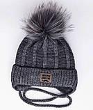 Теплый детский комплект для мальчика 1-2-3-4 года: шапка на флисе + вязаный шарф - хомут, темно-серый графит, фото 2