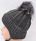 Теплый детский комплект для мальчика 1-2-3-4 года: шапка на флисе + вязаный шарф - хомут, темно-серый графит, фото 8
