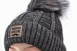 Теплый детский комплект для мальчика 1-2-3-4 года: шапка на флисе + вязаный шарф - хомут, темно-серый графит, фото 7