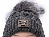 Теплый детский комплект для мальчика 1-2-3-4 года: шапка на флисе + вязаный шарф - хомут, темно-серый графит, фото 6