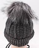 Теплый детский комплект для мальчика 1-2-3-4 года: шапка на флисе + вязаный шарф - хомут, темно-серый графит, фото 9