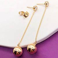 Серьги Xuping длина 6см шарик 9мм медицинское золото позолота 18К с1183