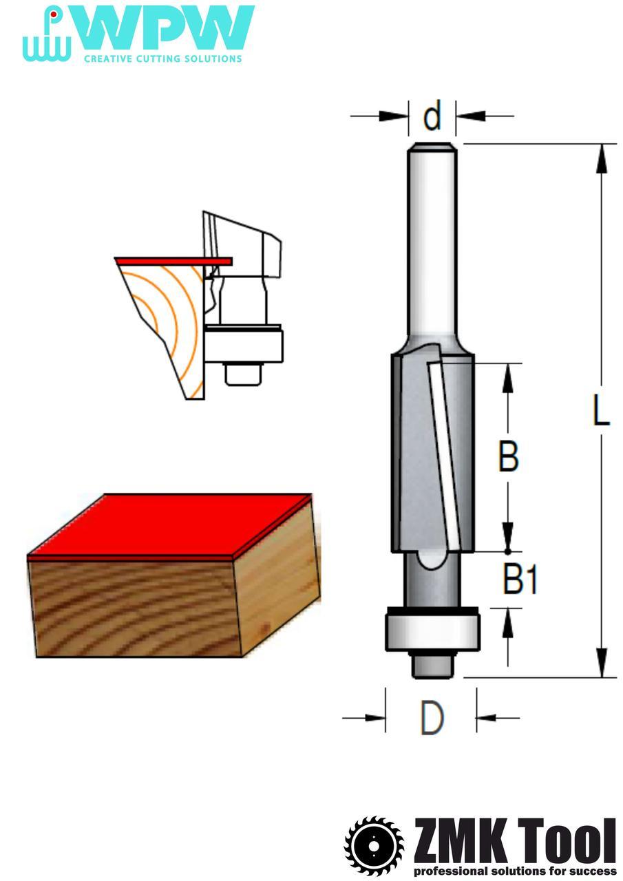 Прямая обкаточная фреза WPW с нижним подшипником и аксиальным ножом D=12,7 d=6 L=72 B=25 Z2 стружка вниз