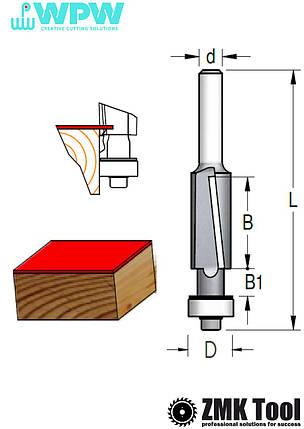 Прямая обкаточная фреза WPW с нижним подшипником и аксиальным ножом D=12,7 d=6 L=72 B=25 Z2 стружка вниз, фото 2