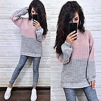 Теплый вязаный свитер оверсайз женский серый-пудра, фото 1