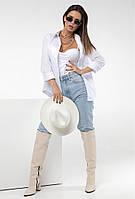 Женская Рубашка,Ткань: коттон , длинный рукав, высокого качества с длинным рукавом(42-48)