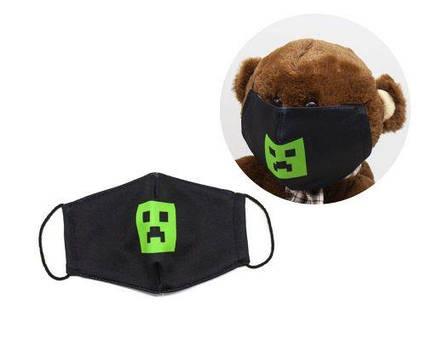 """Многоразовая 4-х слойная защитная маска """"Майнкрафт. Криппер"""" размер 3, 7-14 лет mask2NEW"""