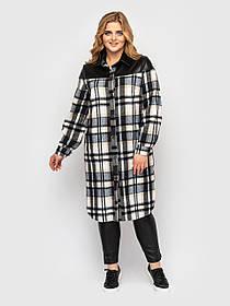 Стильная фланелевая рубашка  в клетку 3 в 1: платье, рубашка, кардиган Большой размер от  52 до 58