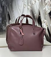 Вместительная женская сумка из кожзама брендовая городская модная классическая темная пудра экокожа, фото 1