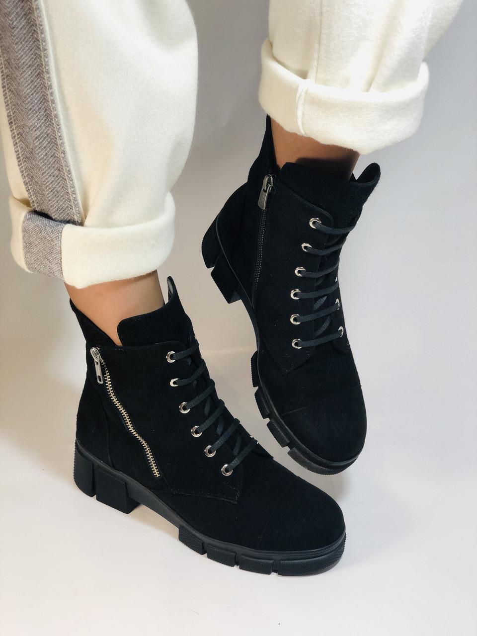 Натуральне хутро. Люкс якість. Жіночі зимові черевики. Натуральна замша .Туреччина. Mario Muzi. Р. 37, 39,40.