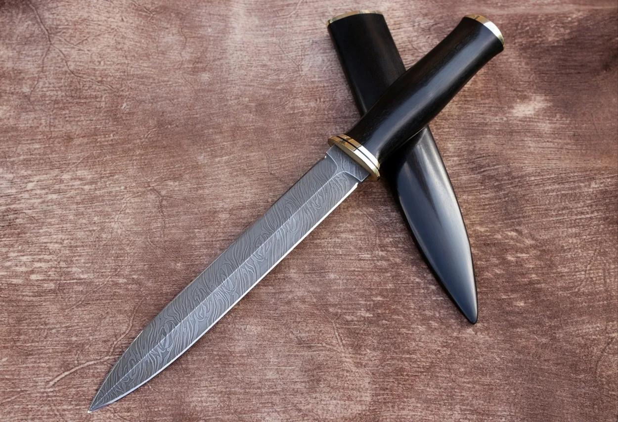 """Авторский нож ручной работы из дамасской стали и граба """"Кинжал"""", 340мм"""