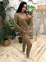 Костюм теплый женский вязаный штаны и кофта с капюшоном, фото 3