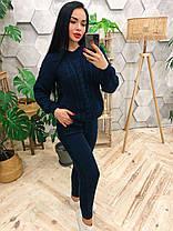 Костюм теплый женский вязаный штаны и кофта с капюшоном, фото 2