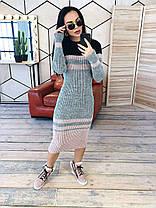 Платье макси вязаное с длинным рукавом в полоску, фото 2