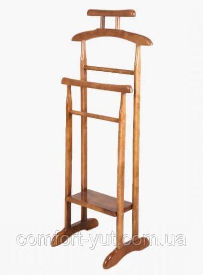 Вешалка Альфа напольная переносная деревянная орех светлый