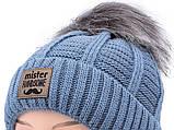 Зимний детский синий набор: шапка с флисовой подкладкой + вязаный снуд - хомут для мальчика 1 - 2 - 3 - 4 года, фото 6
