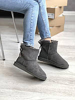 Комфортные угги для девушек MINI BAILEY BOW II GREY замшевые. Женская зимняя обувь серого цвета УГГи с бантом.