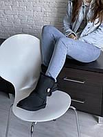 Высокие комфортные угги для девушек. Женская зимняя обувь УГГи черного цвета с пуговкой.