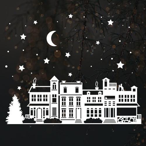 Новогодняя наклейка Новогодний городок (новорічне містечко, сніжинки та зорі)