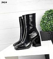 Жіночі шкіряні лакові туфлі ботильйони на підборах 35 р чорний, фото 1