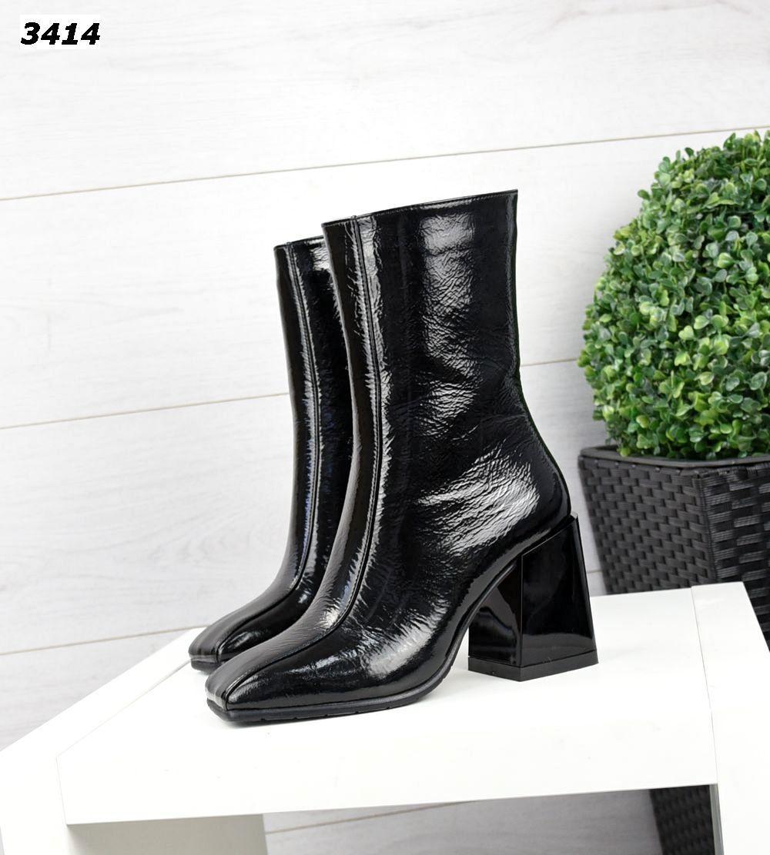 Жіночі шкіряні лакові туфлі ботильйони на підборах 35 р чорний