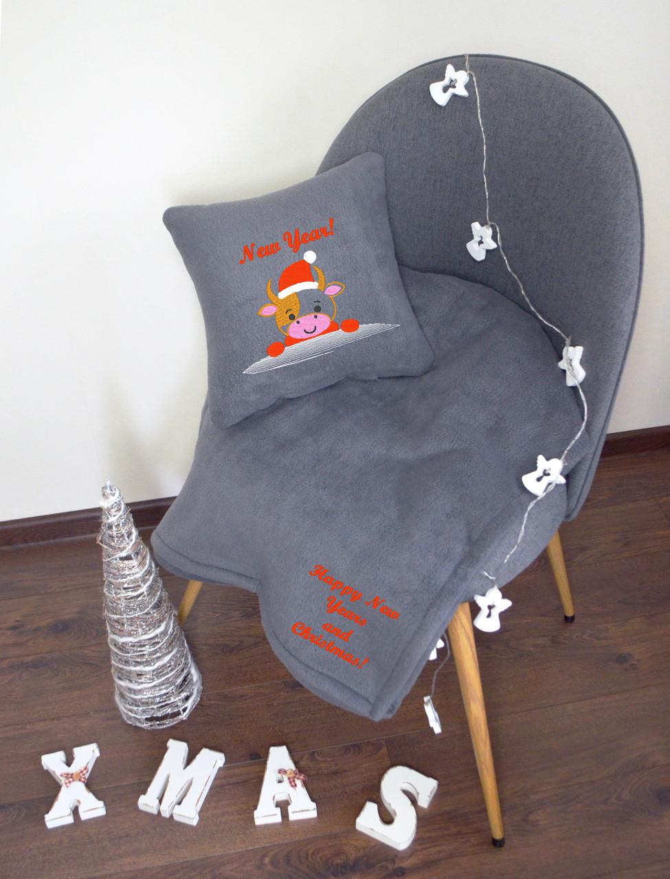 """Новогодний набор: подушка + плед """"New Year!"""" 03 цвет на выбор"""