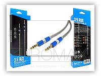 Кабель AUX для подключения смартфона к стерео системе AUX-522 jack 3,5мм, в коробке, прямой, AUX кабель