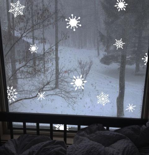 Набір сніжинок 20 шт., новорічна наклейка на скло, вітрину, стіну