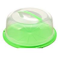 Тортовница R86489 пластик, круглая, с крышкой, 26.5*10см, кондитерский инвентарь, блюдо, столовая посуда,