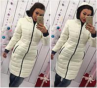 Тёплое длинное зимнее женское пальто молочное 46 48 50