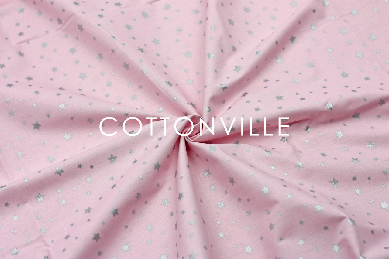Ранфорс 240 см Мелкие звездочки серебристые на нежно-розовом