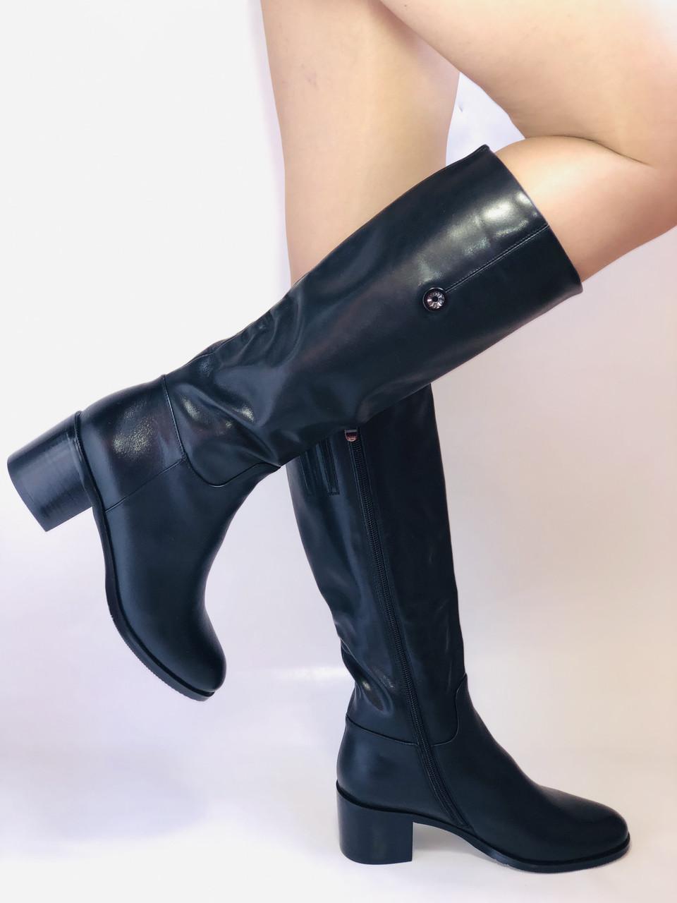 Жіночі осінньо-весняні чобітки на середньому каблуці. Натуральна шкіра. Люкс якість. Molka. Р. 37.38.39