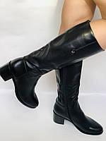 Жіночі осінньо-весняні чобітки на середньому каблуці. Натуральна шкіра. Люкс якість. Molka. Р. 37.38.39, фото 6