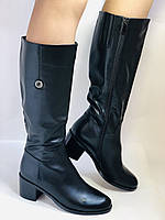 Жіночі осінньо-весняні чобітки на середньому каблуці. Натуральна шкіра. Люкс якість. Molka. Р. 37.38.39, фото 5