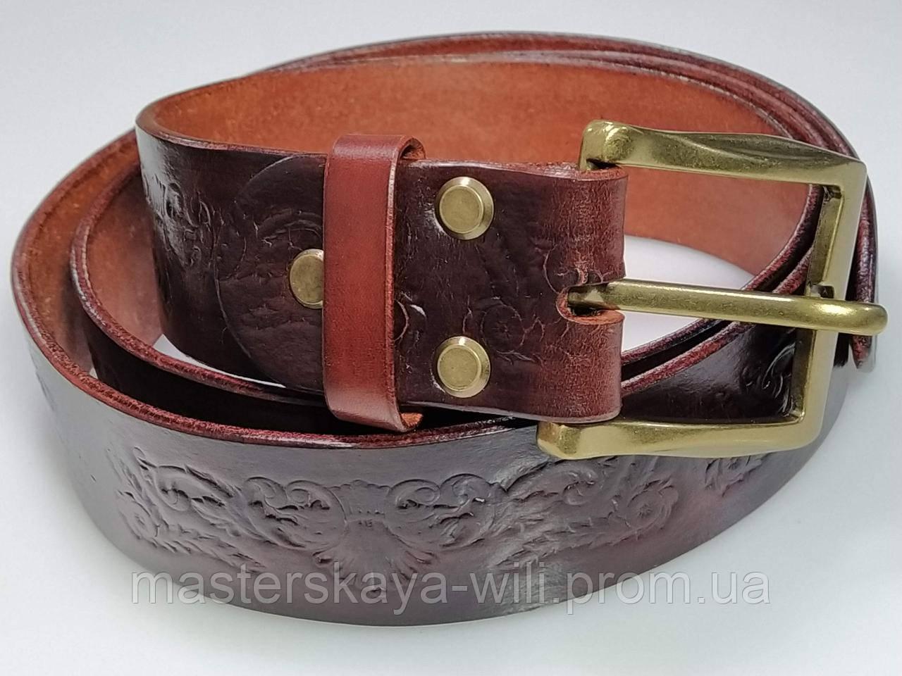 Шкіряний ремінь ручної роботи, коричневого кольору з тисненням