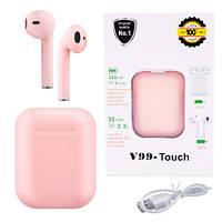 Беспроводные bluetooth-наушники V99-Touch с кейсом, pink, фото 1