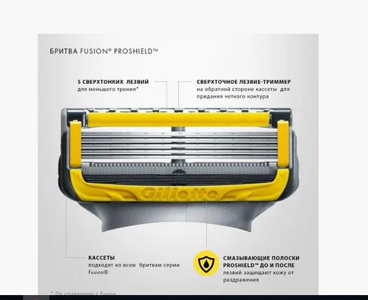 Сменные кассеты Gillette Fusion Proshield, на 5 лезвий (4шт.) без упаковки, фото 2