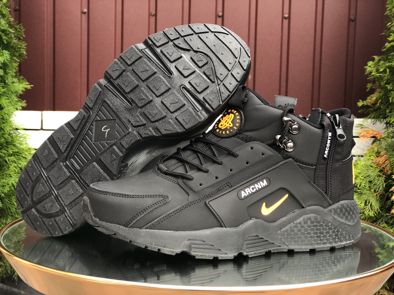 Чоловічі зимові кросівки Nike Huarache (чорно-помаранчеві) 9969