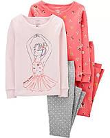 Трикотажные детские пижамки в цветочки Картерс для девочки (ярко-розовая)